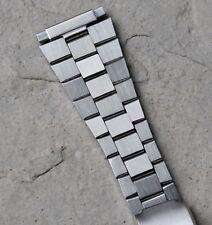 Flared flat-link vintage satin steel watch bracelet adjusts 16mm to 22mm 1960/70