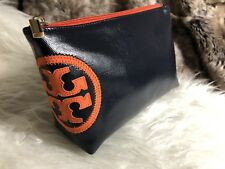 NWT TORY BURCH Dark Blue Navy Travel Cosmetic Case Bag Pouch Water Resistant