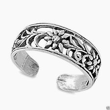USA Seller Plumeria Toe Ring Sterling Silver 925 Best Price Adjustable Jewelry