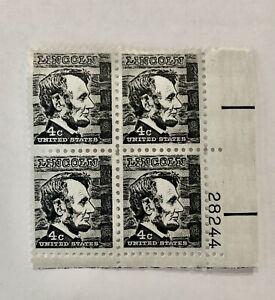 Vintage Abraham Lincoln 4 Cent Black Stamps Unused Block of 4 # 28244