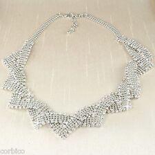 N5 Vintage Estilo plateado plata del rhinestone Cristales Collar de Declaración