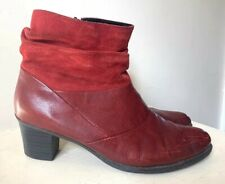 Rieker Ladies Boots 6.5 40 Red Suede Winter Mid Heel Casual Slouch Ankle