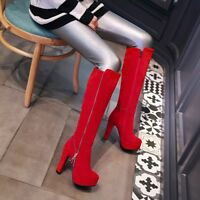 Women's Faux Suede Zip Platform High Heel Knee High Boots Shoes UK Plus Size