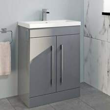600mm Bathroom Vanity Unit Basin Storage Cabinet Furniture Grey Gloss Modern