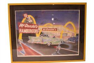 McDonalds Restaurant Framed Poster Print Signed Numbered Vintage Cars Arch