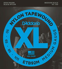D'Addario XL: ETB92 Deep/Warm Nylon Tapewound Bass Strings. Medium Guage & Scale