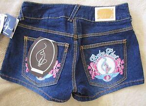 NWT BABY PHAT Embroidered Pocket Rhinestones Stretch Denim Shorts Junior Size 3