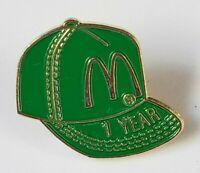 Vintage McDonald's Pin Green Baseball Cap Employees 1 Year Service Pin