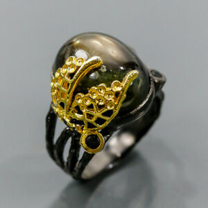 One of a kind Black Star Sapphire Ring Silver 925 Sterling  Size 8 /R176841
