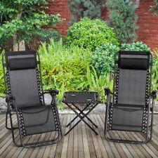 Folding 3PC Zero Gravity Reclining Lounge Chairs Table Pillows Portable Black