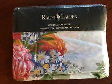 Ralph Lauren MELISSA WHITE Full Flat Sheet Vintage NEW Floral RARE