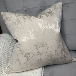 """Luxury Cushion Cover 18"""" Megan Oyster Designer Fabric Marble Effects STUNNING!"""