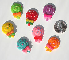 Lollipops Resin Flatbacks hair bow embellishments scrapbooking crafts glue on
