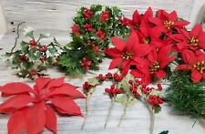 Mixed Lot of 18 Vintage Plastic Christmas Floral Picks Sprigs Plastic Holly