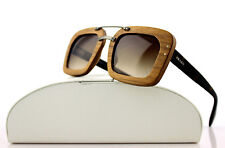 RARE New Wooden SPECIAL PROJECT PRADA Nut Canaletto Sunglasses SPR 30R IAM-6S1