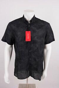 Zara Mens Oxford Shirt Button Down Slim Fit Palm Trees Tropical Black Gray NWT