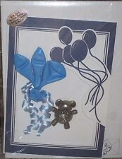 Loonies ~ Gift Card~Blue Teddy Bear Balloon Holder~3 Balloons~ Confetti & Mailer