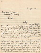 Jacques FRANÇOIS - Émouvante lettre autographe signée durant la 2e guerre. 1944