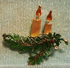 Vintage Christmas Tree Branch Candles Pin Brooch
