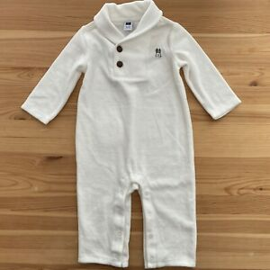 JANIE AND JACK Layette Little Cabin White Velour Puppy Romper Size 6-12 Months