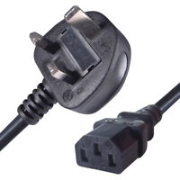 5 x (pack of 5) 1.8m UK Plug to C13 Mains Power Cable Black (Kettle Lead)