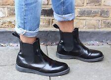 Dr Martens UK 8 UE 42 Botas de tobillo Negro Patente Flora Chelsea Hombre Mujer Unisex