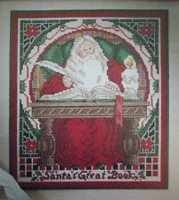 Christmas Santa checking list of names in great book cross stitch Pattern