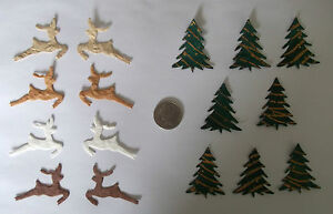 24 Mulberry paper  Xmas die cuts  shapes reindeer, Christmas trees