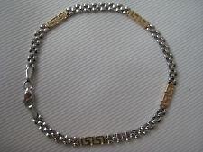 9kt oro bianco e giallo pantera braccialetto con greco chiave SPECIALE ARRIVO