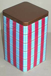 RED Blue Black PLAID Metal Tin Box Canister by Second Cup FREE SH