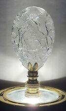 LAMP FINIAL-DAZZLING CLEAR CRACKLE LAMP FINIAL**SOLID BRASS BASE**