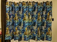 "Star Wars IV A New Hope 1977 Vintage Pinch Pleated Curtains 74"" Wide x 64"" Long"