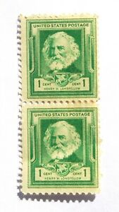 1940 1 Cent US Stamp American Poet Henry Wadsworth Longfellow Lot of 2