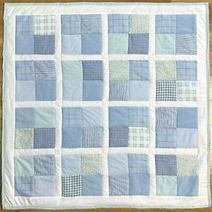 "Baby Quilt Handmade Boy's Blue Patchwork Crib Blanket 42"" x 42"" New"