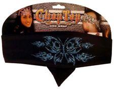 Blue Black Butterfly Glitter Chop Top Bandanna Headwrap Sweatband Biker Headband