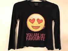 GIRLS SMILEY BRUSH BOTH WAYS SEQUINS T SHIRT TOP YOU ARE MY FAVOURITE PRIMARK