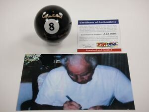 WILLIE MOSCONI SIGNED PSA/DNA CERTIFIED AUTOGRAPHED #8 BILLIARD POOL BALL