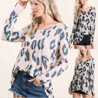 Women Fall Long Sleeve V Neck T Shirt Casual Tops Loose Blouse Leopard Tunic
