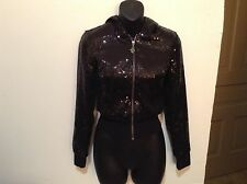 Los Angeles Guess Jeans Ladies' XS Sparkly Sequined Black Lined Jacket! (#CB-1)