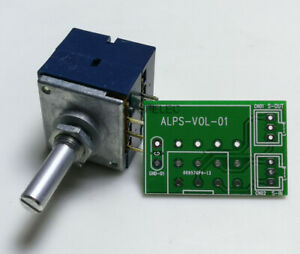 Japan ALPS RK27 Dual Unit Slotted Shaft LOG Stereo Volume Potentiometer + PCB