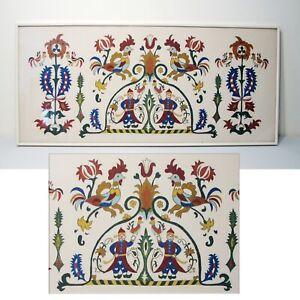 Greek Folk Art Paint On Fabric Framed Hanging Wall Art