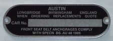 CLASSIC MINI AUSTIN CHASSIS PLATE 1959-72 COOPER S DELUXE BMC LEYLAND 3T4