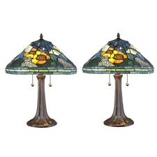 Table Lamp Set 23 in. Hand-Cut Pieces Stained Glass Shade Bronze 2 Pull Chains