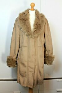Centigrade Brown Faux Suede Fur Trim Mid Length Coat Size XL 18 20 Autumn Winter