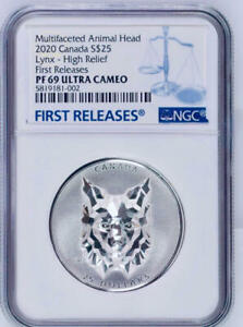 NGC PF69 Canada 2020 Multifaceted Animal Head Lynx High Relief Silver Coin 1oz