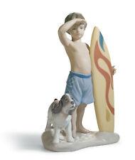 Lladro Surf'S Up Boy Figurine #8110 Brand Nib Beach Surf Board Dog Save$ F/Sh