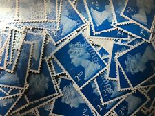 200 2nd Class Unfranked Stamps Off Paper All Blue Security Excellent Condition