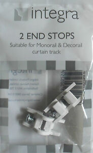 Decorail Monorail plastic curtain track or rail end stops Integra pack of 2