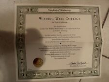 Coa Only for the Franklin Mint Wishing Well Cottage Limited Edition