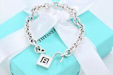 "Tiffany & Co Silver Letter B Pad Lock Love Charm 7"" Chain Bracelet w Box & Pouch"